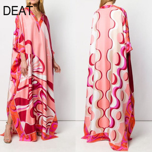 DEAT 2020 Bohemian Printed Over Size V-neck Batwing Sleeve Star Dress Women Elastic Silk Floor Length New Fashion Tide AW962