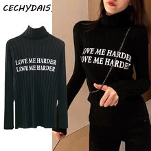 Crop Sweater Women Turtleneck Pullover Winter Clothes Ladies Knitted Tops Letter Pattern Fashion Fall Pull Femme водолазка kazak()