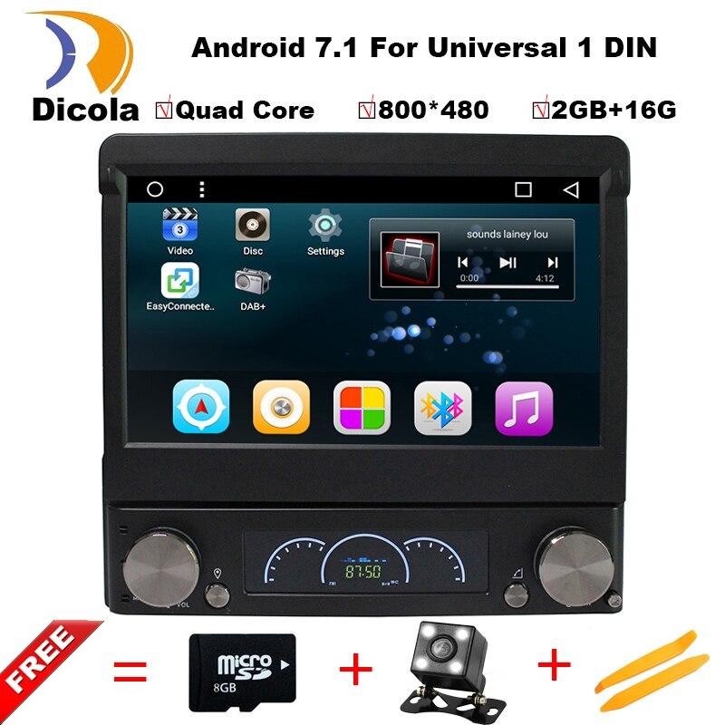 Android 7,1 7 Универсальный 1 Din автомобильный аудио dvd плеер + радио + GPS + Авторадио + стерео + Bluetooth + ПК + Automotivo + SD USB RDS Aux + камера