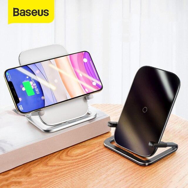 Baseus 15w qi carregador sem fio suporte qi carga rápida suporte do telefone multifuncional almofada de carregamento sem fio para iphone 11 pro samsung 1