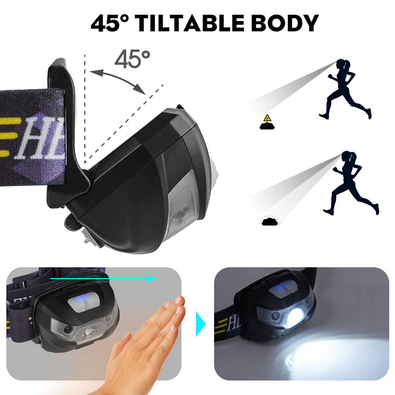 Image 5 - Mini Rechargeable LED HeadLamp Body Motion Sensor LED Bicycle Head Light Lamp Outdoor Camping Flashlight With USB Port-in Headlamps from Lights & Lighting