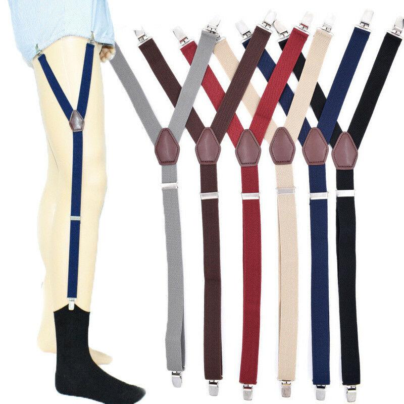 2pcs Men's Shirt Stays Holders Solid Novelty Elastic Garter Belt Suspender Locking Clamps New
