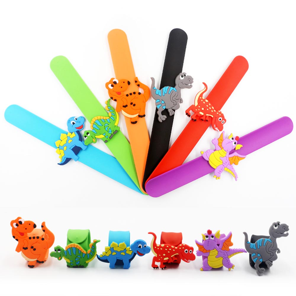 6pcs Jurassic Dinosaur Wristband Rubber Bangle Bracelets Kids Gifts Jungle Animal  Multicolor Bangle Party Club Toys For Baby