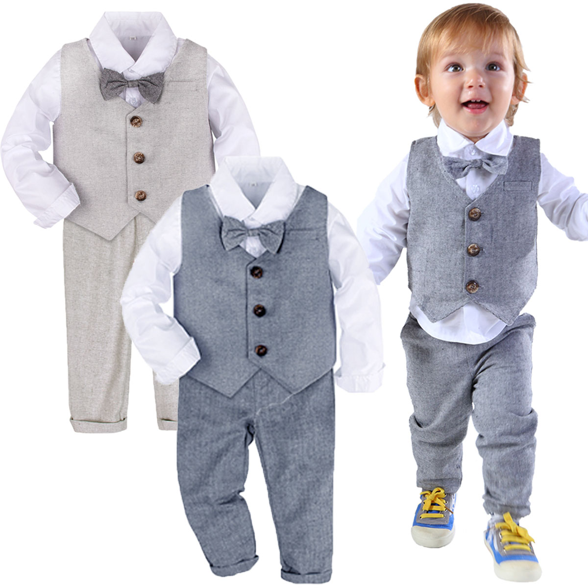 Baby Formal Suit Toddler Wedding Tuxedo Infant Gentleman Baptism Birthday Party Outfit Winter Long Sleeve Outwear 3PCS