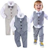Traje Formal para bebé, esmoquin de boda para niño pequeño, traje de bautismo para caballero, traje de fiesta de cumpleaños, prendas de vestir de manga larga para invierno, 3 uds.