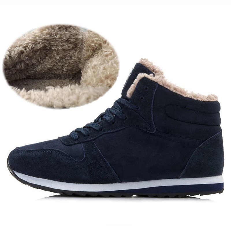 Mode Mannen Laarzen Warm Bont Winter Schoenen Mannen Snowboots Lace Up Enkel Laarzen Mannen Winter Schoenen Winter Laarzen Heren winter Sneakers
