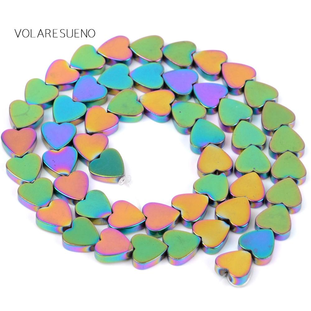 Natural Multicolor Love Heart Hematite Round Loose Beads For Jewelry Making 8mm Spacer Fit Diy Bracelet Necklace Accessory