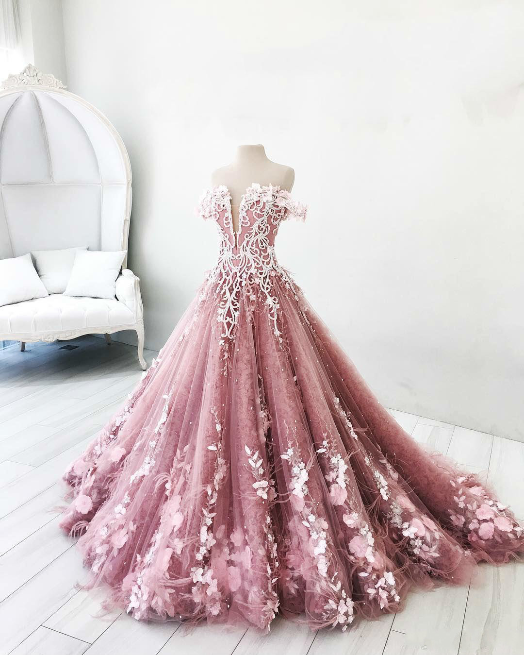 Image 2 - BGW 2241ht Butterfly Flowers Appliques Ball Gown Masquerade Quinceanera Dresses Off Shoulder Backless Floor Length Pageant GownsQuinceanera Dresses   -