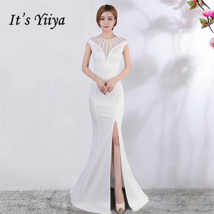 Sleeveless Evening Dress It's Yiiya DX389 Crystal Mermaid Floor-Length Formal Gowns Plus Size O-Neck Illusion Robe De Soiree