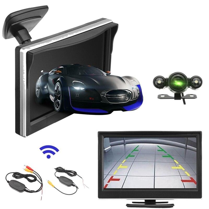 5 дюймов 720P беспроводная автомобильная парковочная камера заднего вида ЖК монитор 2 в 1 TFT HD Автомобильный Монитор 170 градусов Водонепроницае
