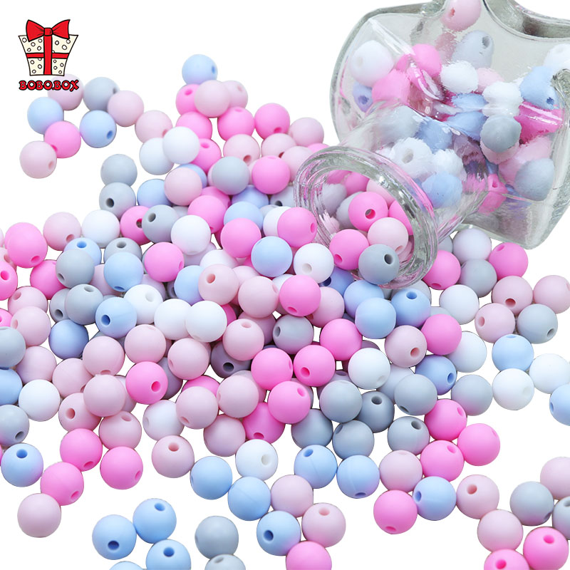 BOBO.BOX 50Pcs Round Silicone Beads 9mm Perle Silicone Teething Beads For Jewelry Making Baby Products DIY Silicone Kralen Beads(China)