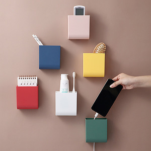 Wall Mounted Storage Box TV Air Conditioner Remote Control Storage Box Office Organizer Sundries Pen Mobile Phone Holder Rack