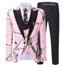 Men Suits 3 piece Leisure Notched Lapel Embroidery Design Wedding Groom Tuxedo  (Jacket+Vest+Pants)