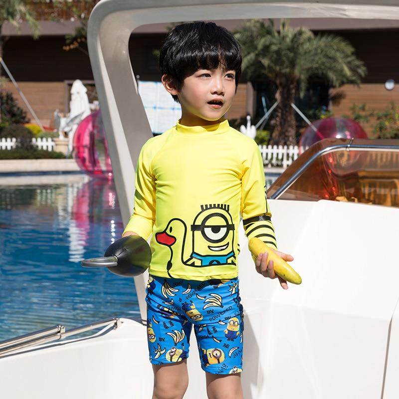 New Style South Korea CHILDREN'S Swimwear Split Long Sleeve Shorts Cartoon Printed Banana Children Male Baby Students Bathing Su