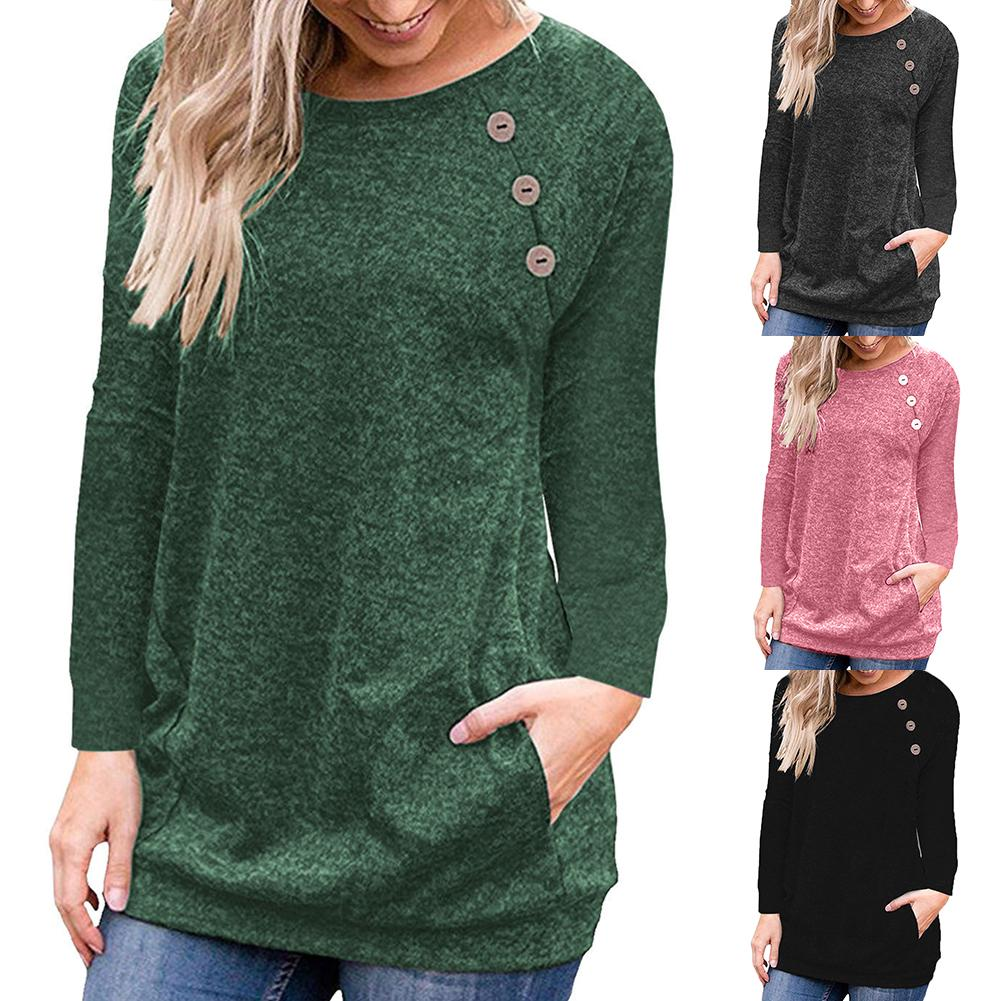 2019 Chic Women Solid Color O Neck Long Sleeve Button Pullover Knitted Blouse Cotton All-match Warm Women's Blouse Size S-3XL