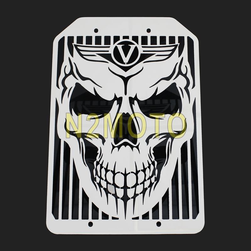 Punk Style Motorcycle Evil Skeleton Skull Radiator Grill Mesh Water Cooler Cover Guard Protector For Kawasaki <font><b>VN1500</b></font> VN1700 VN image