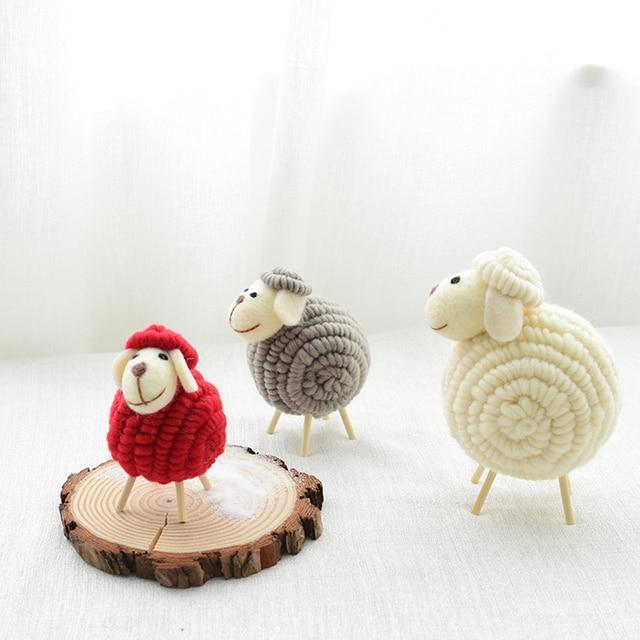 12 CM Innovative Wool Felt Cute Sheep Shape Children's Room Decoration Ornament Soft Toys Dolls Kawaii Sheep Alpaca Plush Toys 1