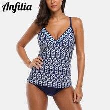 Anfilia Women Halter Tankini Set Two-piece Swimsuit Vintage Floral Printed Swimwear Push Up Sexy Bikini Hollow Back Bathing Suit open back halter frill trim tankini set
