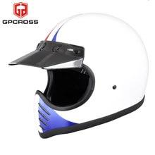 Tt co moto3 moto do vintage rosto cheio capacete dot aprovado capacete da motocicleta escudo de fibra vidro sólida e segurança capacetes moto