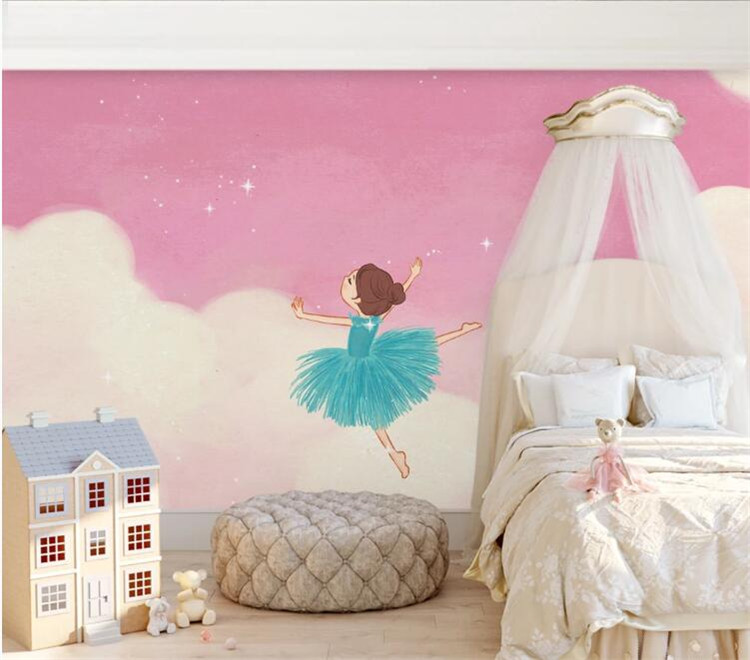 3D Pink Ballet Girl Room Wallpaper Mural Art Wall Decals Wall Mural Paper Rolls Contact Paper Roll 3d Wall Murals Custom