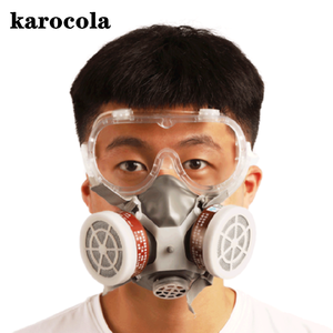 Image 2 - Painting Spray Gas Mask Respirator Anti Dust Mask with Protective Glasses Breathing Valves Replaceable Carbon Filter Light