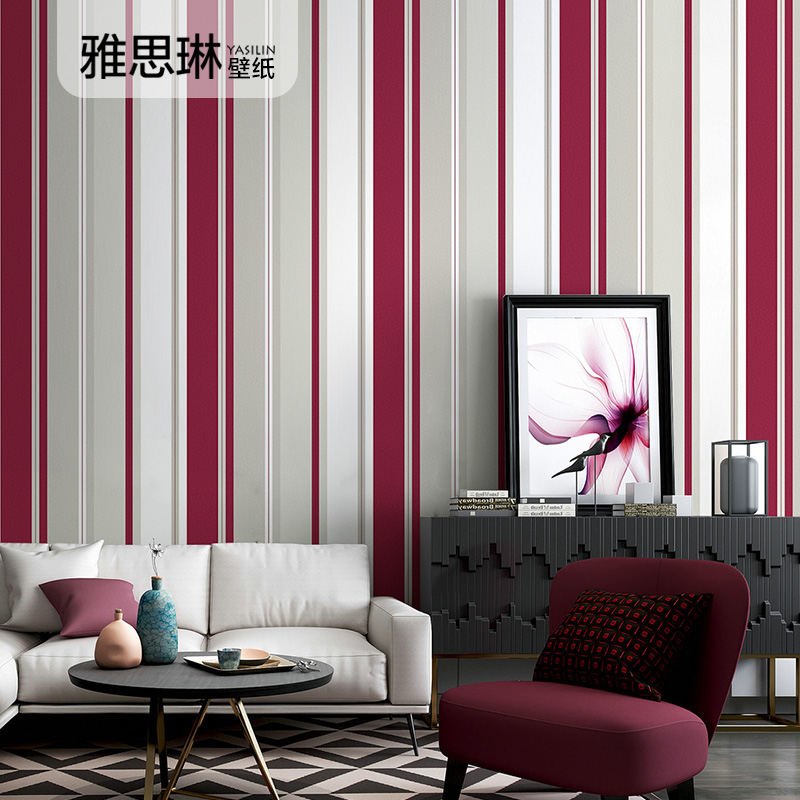 Bonne qualité moderne minimaliste non-tissé bleu rayures verticales papier peint style nordique salon chambre mur méditerranéen