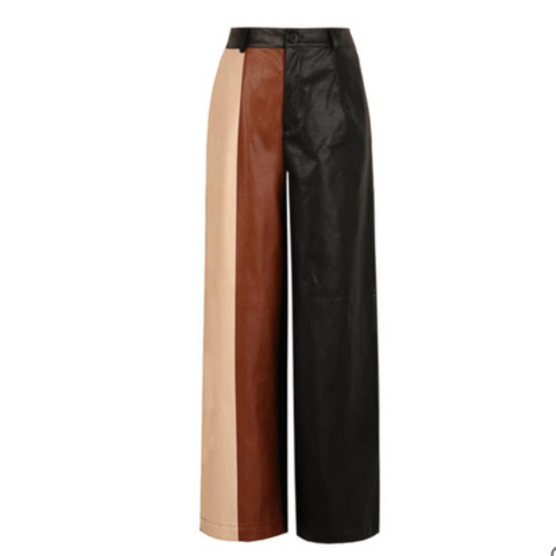 New Women PU Leather Pants  Loose Color Stitching PU Wide Leg Pants