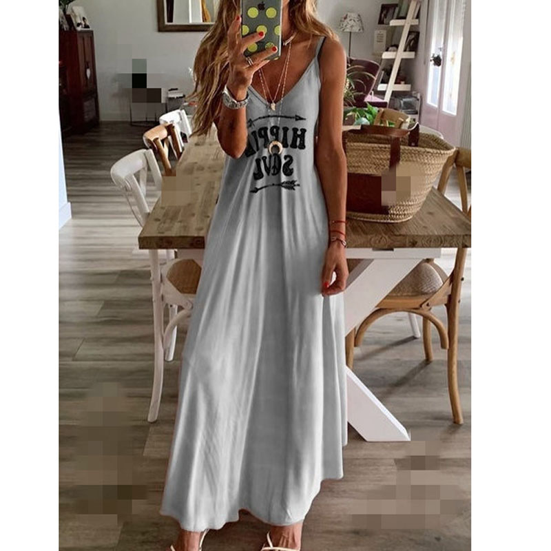 Pink Blue Letters Print Dress Sexy Spaghetti Strap Sleeveless Long Dress Women Summer Casual Beach Dresses Female Plus Size 6XL