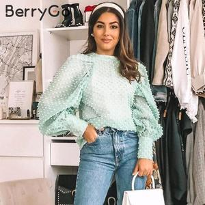 Image 2 - BerryGo Elegant floral embroidery blouse shirt women Streetwear chiffon ladies blouses Turtleneck puff sleeve female  blouse top