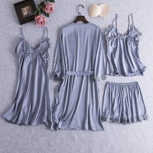 Image 4 - ורוד נשים סקסי 4PCS חלוק חליפת האביב חדש רופף קימונו חלוק שמלת Loose מקרית הכלה שושבינה חתונה הלבשת כתונת לילה