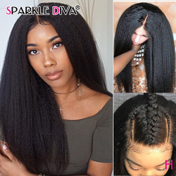 13x6 Kinky Straight Lace Front Wig Glueless 180% Brazilian Lace Wig Remy Lace Front Human Hair Wigs For Black Women Pre Plucked