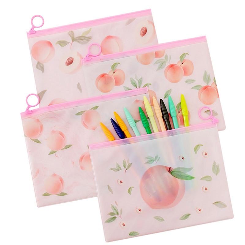 Pink Peach Ring Zipper PVC File Folder Document Filing Bag Stationery Bag