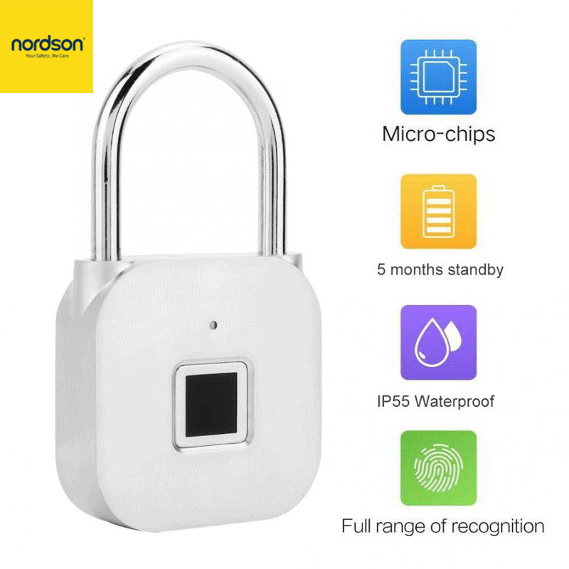 Nordson Original Smart Fingerprint Padlock Keyless Usb Rechargeable Door/Luggage/Case/Bag Anti-theft Security BiometricPadlock