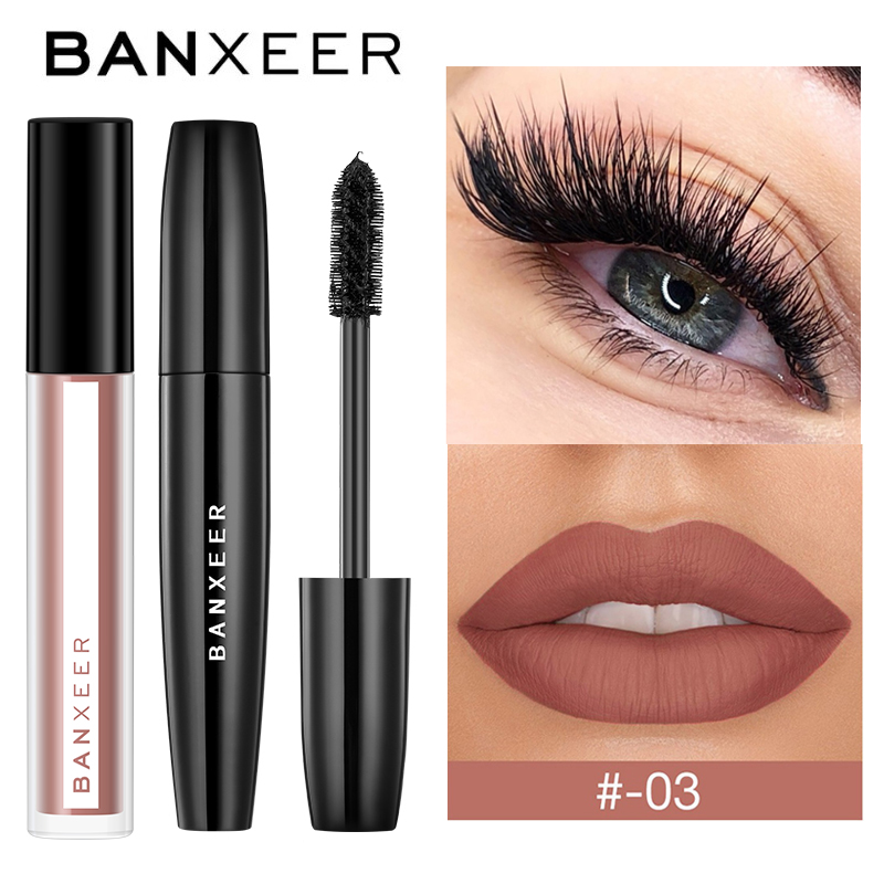 BANXEER Makeup Sets Cosmetics 2pcs Lipgloss + Mascara 4D Waterproof Liquid Lipstick  Extension Eyelash Makeup Kits