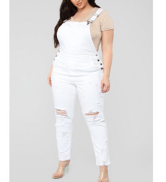 Plus Size L-5XL Women Fashion Hole White Jumpsuit  Overalls Autumn Winter  Strap Ripped Pockets Long Pants Denim Jeans Jumpsuit