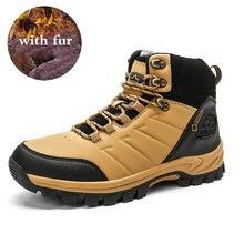 Мужские зимние ботинки на меху черные теплые рабочая обувь водонепроницаемые