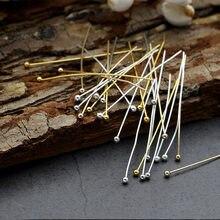 20mm 30mm 40mm 50mm Aço Inoxidável Prata Banhado A Ouro Bola de Cabeça Pinos Resultados Da Jóia Fazendo 24-Calibre 200 PÇS/LOTE
