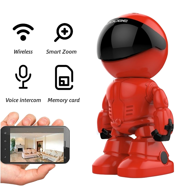 1080P WiFi Robot IP Camera Pan Tilt Security WiFi Camera Support P2P Night Vision Motion Detection Two Way Audio+TF Card Slot