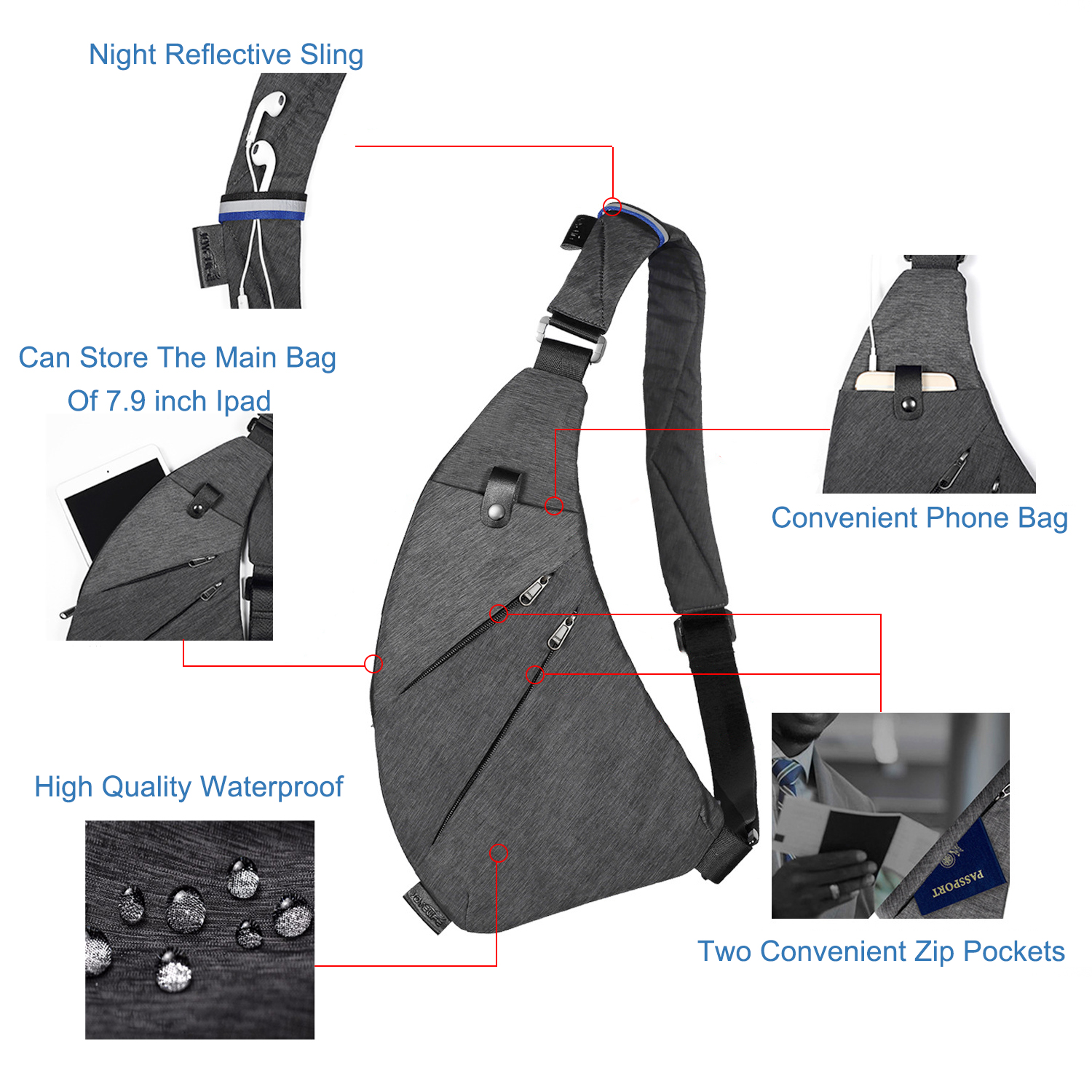 DIENQI Nylon Waterproof Waist Bag Brand Men Holster Anti Theft Shoulder Bag Sports Travel Personal Pocket Bags Casual Chest Bag