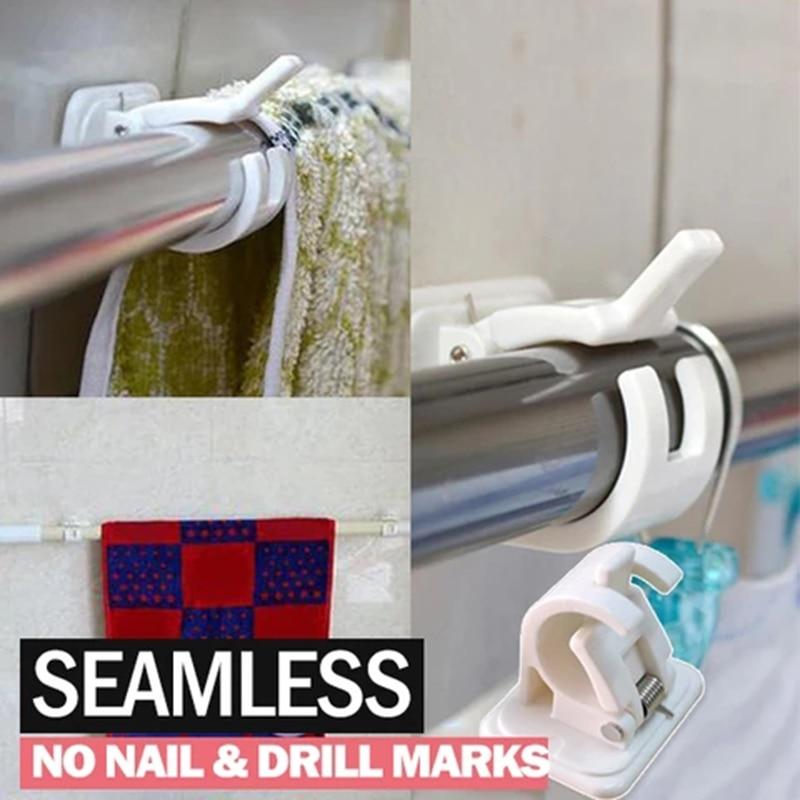 2/4/6pcs Nail-free Adjustable Rod Bracket Holders Self-adhesive Wall Mount Curtain Pole Wall Brackets for Home Bathroom D1