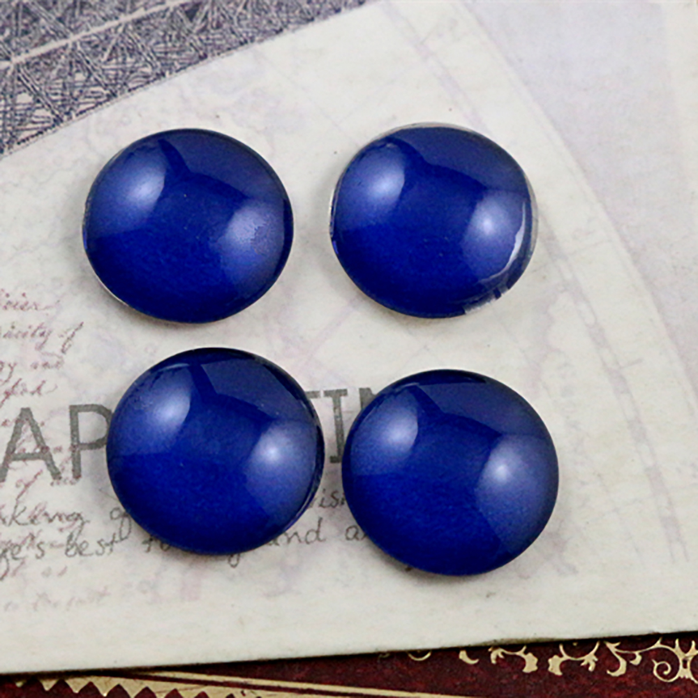 New Fashion  20pcs 12mm Dark Blue Handmade Photo Glass Cabochons Pattern Domed Jewelry Accessories Supplies-E1-22