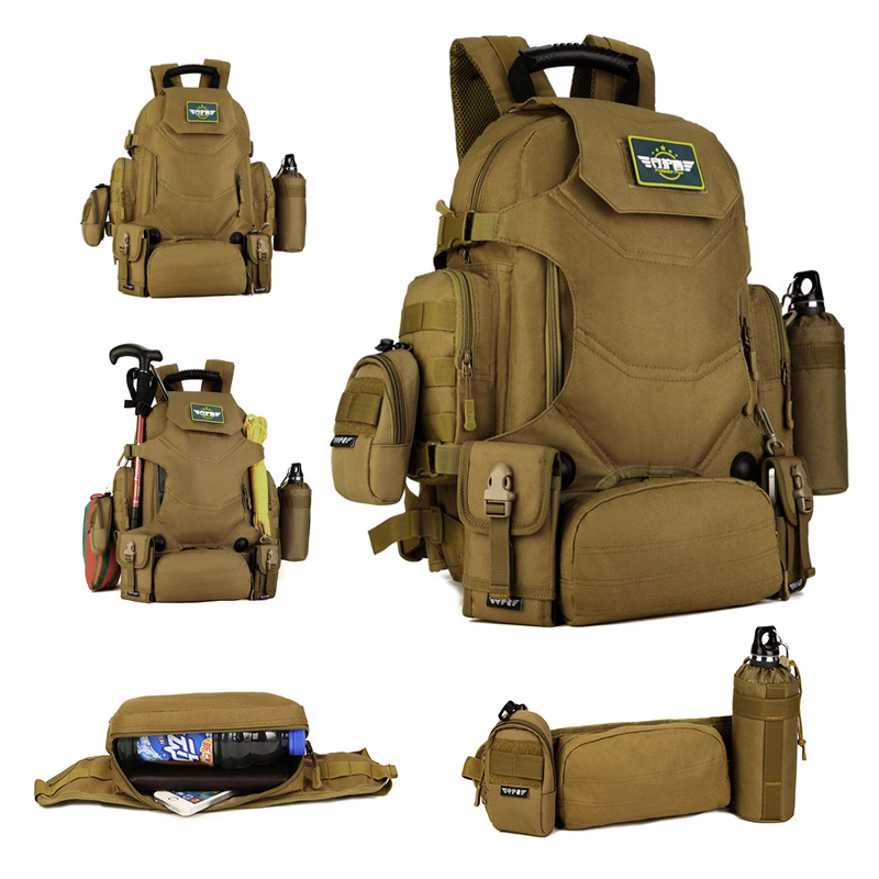 40L Outdoor Tactical Backpack 2 in 1 Military Bags Army Rucksack Backpack Molle Sport Bag Men Camping Hiking Travel Climbing Bag