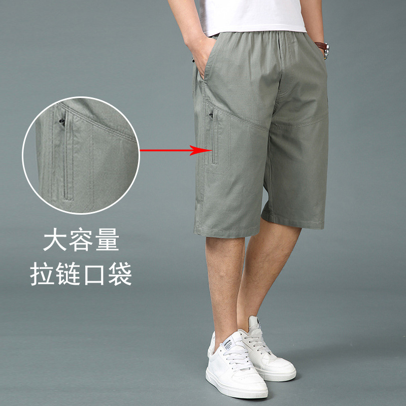 Middle-aged Capri Pants Men's Loose And Plus-sized Daddy Clothes Outer Wear Summer Pure Cotton Casual In Pants Middle Aged And E