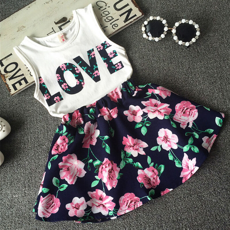Floral Baby Kids Girls Clothes Dress Top Tank Vest T Shirt Skirt Outfits Set