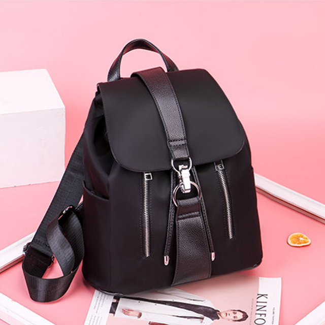 Women Backpack School Bags For Teenager Girls Nylon Zipper Lock Design Black Femme Mochila Female Backpack Fashion Sac A Dos 2