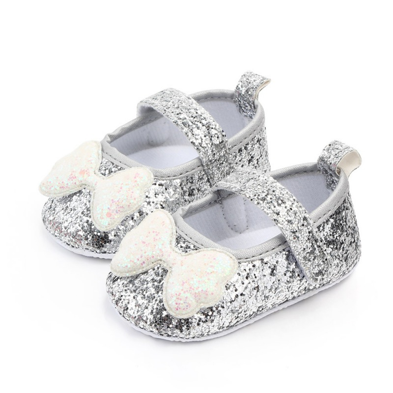 0-18M Autumn Baby Girl First Walkers Anti-Slip Casual Walking Shoes Sequin Bow Design Sneakers Soft Soled
