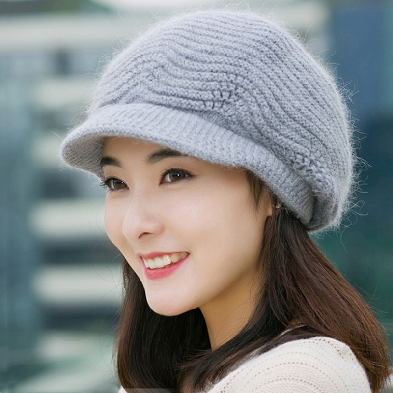 New Women's Hat Female Warm Winter Hat Wave Design Rabbit Fur Knitted Hats For Woman Fashion Winter Bonnet Beanie Hat