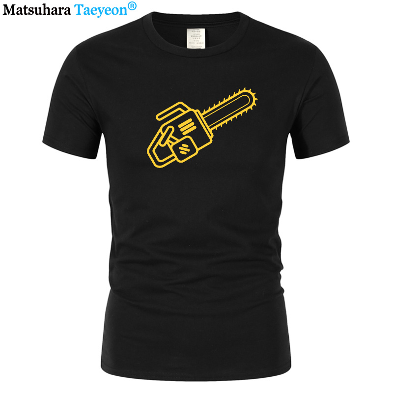 Fashion Printed T-shirt O-neck Design Short Sleeve T-shirt Men's Chainsaw T-Shirt Gift For Boyfriend