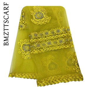 Image 3 - 2020 New African women scarf muslim embroidery net scarf hijab scarf big size scarf for shawls BM956