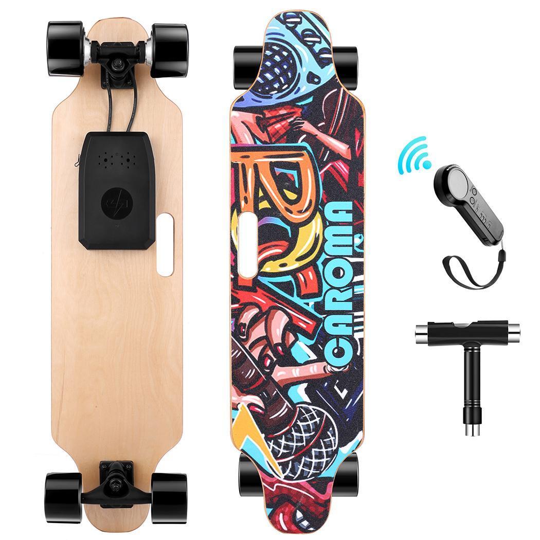 35.4x9.1x4.9inch Electric Skateboard PU Wheel Hub Dual-Motor Skateboard with Remote Control 29.4V 4000mAh Lithium Battery 3